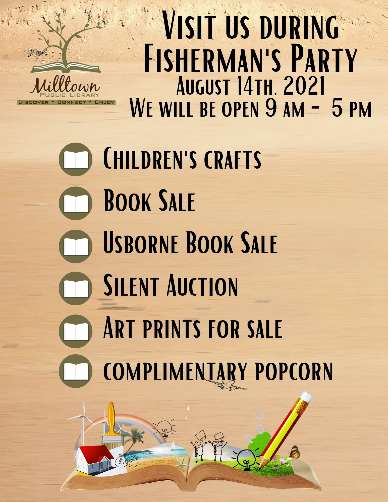 Visit us during Fisherman's Party • Aug 14th 9am - 5pm • Book Sale, Crafts, Silent Auction, Art Prints Sale, Complimentary Popcorn