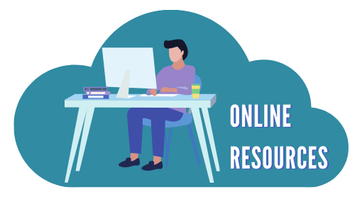"""Cloud with person using computer and the words """"online resources"""""""